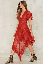 Nasty Gal Collection Stuck in the Midi With You Dress small red