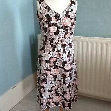 Retro Floral Estampado Midi Vestido Rosa Marrón de longitud UK 16 Boden?
