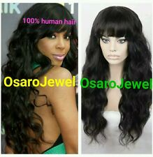 100% virgin Full  brazilian human hair. Lace front wig with bangs. 24inches