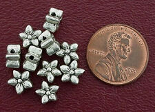 10 7mm SIDE DRILLED FLOWER BALI PEWTER BEADS