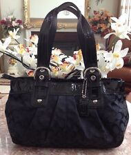 COACH SIGNATURE SOHO JACQUARD PLEATED TOTE Black F 13742 EUC