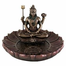 5 Inch Shiva Round Lotus Incense Holder Sculpture Statue Hindu Deity Hinduism
