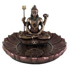 5 Inch Shiva Round Lotus Incense Holder Sculpture Statue Hindu Deity Hinduism