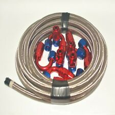 AN10 -10AN Stainless Steel Braided OIL/FUEL Line + Fitting Hose End Adaptor KIT