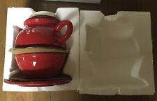 "NEW SILVESTRI Red Tea For One TEA POT / 5"" Teapot!"
