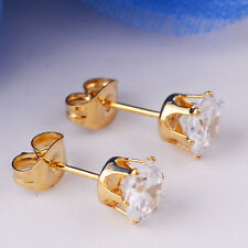Vintage White topaz Gems 14k Gold Filled Earring Ear Stud Wedding Xmas Jewelry