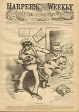 Th. Nast, Political Cartoon, Monkey and Cat, Vintage, 1879 Antique Art, Print,