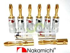 8x Nakamichi 24k Gold Plated Audio Banana Speaker Plug Screw Cable & Wire Diy