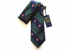 New Ralph Lauren Polo Italy 100% Silk Handmade Navy & Green Crested Skinny Tie