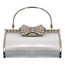Womens New Vintage Silver Bow Glamorous Evening Cocktail Party Clutch Handbag