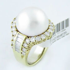 NYJEWEL 14k Solid Gold Amazing Huge Pearl 3ct Diamond Cocktail Ring $7999