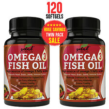Omega 3 Fish Oil Supplement (120 Softgels) - 2000mg Triple Strength Fish Oil