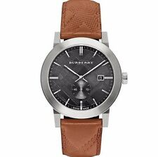 Burberry Men's The City Swiss Black Dial Brown Leather 42mm Watch BU9905 $495