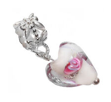 Pink Clear White Murano Glass Heart Dangle Bead fits European Charm Bracelets