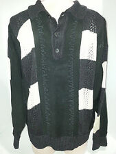 VTG Mondis Simo Mens Knitted 1/3 Button Front Sweater Shirt Sz 50 Medium Black