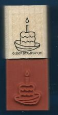 BIRTHDAY BOAT CAKE Candle Sea Life Hat NEW STAMPIN UP! Wood Mount RUBBER STAMP