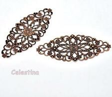 12 Copper Filigree Wraps Large Oval Connectors 80mm Cabochon Embellishments
