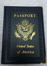 US Passport New Dark Blue Leather like Cover Holder Wallet Case Travel Tourist