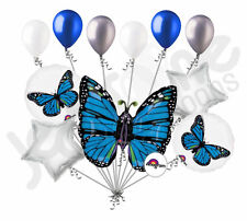 11 pc Blue Monarch Butterfly Balloon Bouquet Party Decoration Happy Birthday