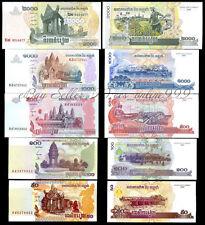 Set of 5Pcs Cambodia 50+100+500+1000+2000 Riels Paper Money Uncirculated
