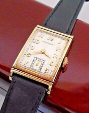 Hamilton GILBERT Model Solid 14K Case Wrist Watch Vintage Rare Art Deco