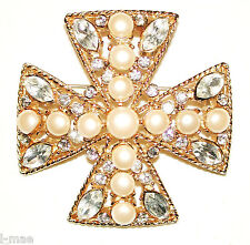 MALTESE CROSS VINTAGE PIN GILDED W PEALRS & CRYSTALS SIGNED SPHINX