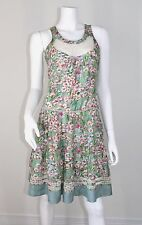 Blumarine Silk Embroidered Lace Blue Green Floral Tier Dress 44 8 10 Medium M MD