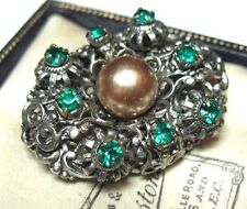VINTAGE ART DECO Czech FILIGREE Emerald Green Crystal Glass JEWELLERY Pin BROOCH