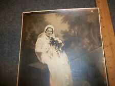 """ANTIQUE PHOTO """"YOUNG WOMAN IN WEDDING DRESS"""" APPROX. 8x10"""