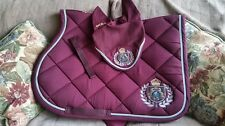 FAIR PLAY BURGUNDY ROYAL DIAMONDS SHOW JUMPING SADDLE PAD & FLY VEIL SET FULL