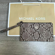 BNWT MICHAEL KORS FULTON Clutch MK Bag Purse RRP £120 Snake Leather 100% Genuine