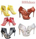 Women's Sexy Zipper Open Toe Strappy High Heel Sandal Shoes Size 5.5 - 11 NEW