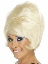 New Women Girl Fantasy Fancy Dress 1960's 70's Short Blonde Beehive Wig Moll Fun
