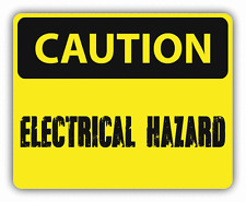 "Caution Electrical Hazard Sign Warning Car Bumper Sticker Decal 5"" x 4"""
