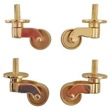 "4 x 25mm (1"") BRASS COLOUR CASTORS WHEELS FURNITURE STRONG DESK TABLE FEET CHAIR"