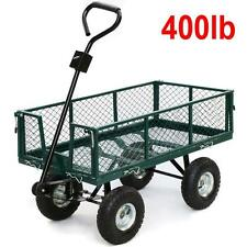 Steel Utility Garden Cart Heavy Duty Hand Rolling Wagon Barn Garage Lawn Yard