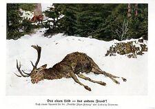 Ludwig Fromme Des einen Leid... Fuchs Toter Hirsch Histor. Jagdliche Grafik 1930