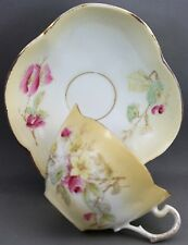 DRESDEN TEACUP & SAUCER-YELLOW EDGE/HAND PAINTED FLOWERS I 267