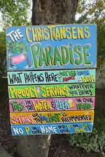 POOL RULES TROPICAL HOUSE BEACH PARADISE HAND MADE PERSONALIZED SIGN  PLAQUE