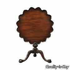 Vintage Drexel Mahogany Pie Crust Chippendale Ball & Claw Tilt Top Table 074-346