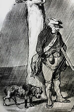 Honore Daumier c1950 - HUNTER w RIFLE CAUGHT in RAIN Vintage Art Print Matted
