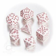 Q-Workshop Japanese Dice Set (7 Polyhedral) White & Red SKAN26