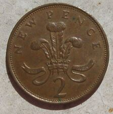 2 PENNY INGHILTERRA primo tipo - NEW PENCE ELISABETTA 1975- n. 880