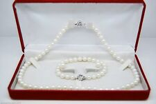 "MP"" Fine 7-8MM AAA white pearl jewelry sets 925-Silver"