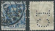1926 REGNO USATO FLOREALE 1,25 LIRE PERFIN - S202