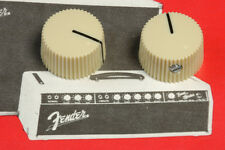 *NEW Cream Aged White BARREL KNOBS Vintage Fender Amp Style Guitar Set of 2
