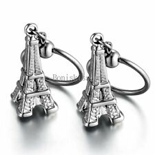 One Pair Silver  Stainless Steel Eiffel Tower Hoop Earrings for Ladies Womens