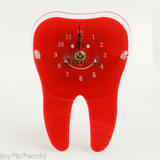 RED Desk Table Clock Time Tooth Shape Dental Dentistry Home Office