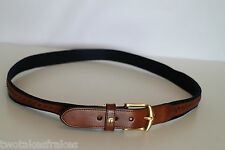Dunhill Brown & Blue Designer Leather Belt Golf New Made In England UK W42 42