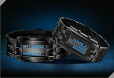 Men's Black Stainless Steel Date Digital LED Bracelet Sport Watches BK